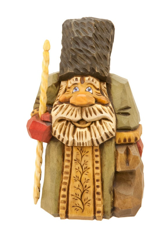 Hand Carved Wooden Santa in Green Robe, Black Hat, Red Mittens Holding Walking Stick