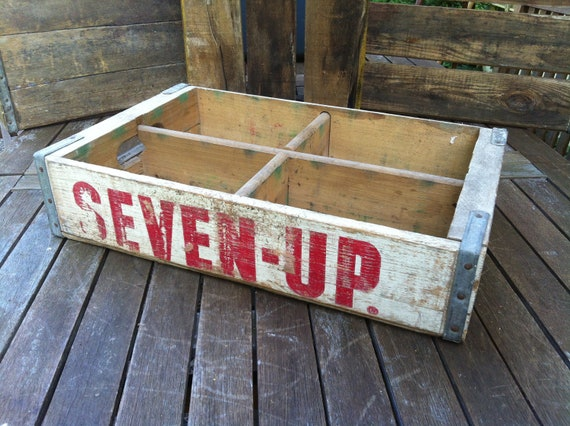 Vintage White 7UP Soda Crate (Type)