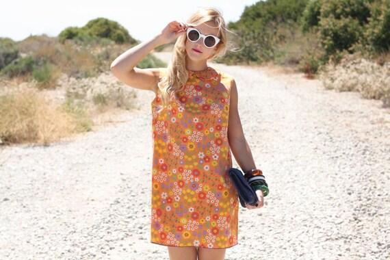 VTG 1960s 60s Mod Orange Floral Print Mini Dress S/M