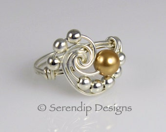 June Birthstone Statement Ring, Sterling Silver and Gold Swarovski Pearl Galaxy Ring, Custom Wire Wrapped Argentium Silver Ring