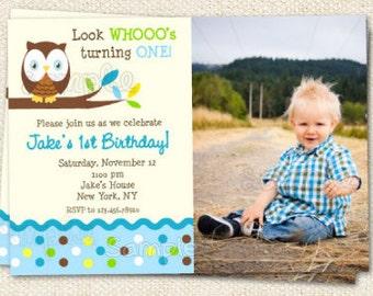 Owl birthday party invitations for boy