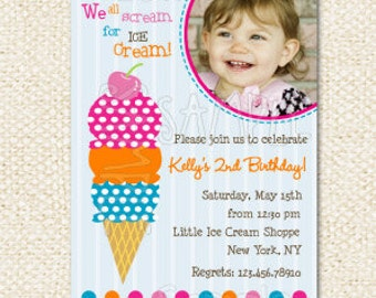 Ice Cream Birthday Invitations - Ice Cream Party - Birthday Invites