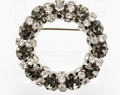 Circle Pin Black Diamond and Clear Vintage by DeLizza and Elster