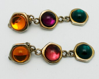 Vintage Earrings Glass Cabachons