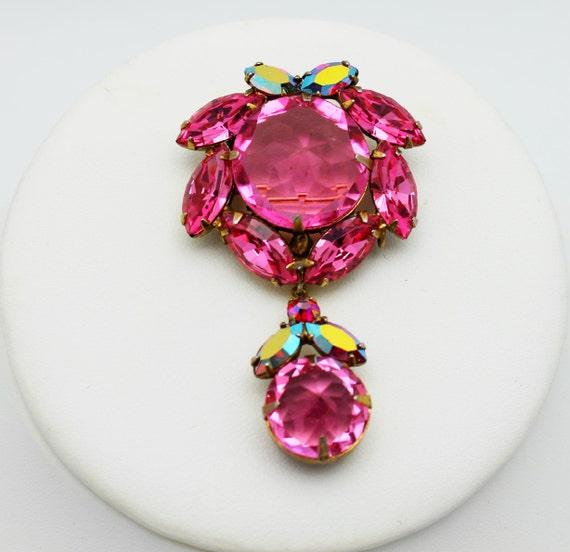 Vintage Brooch Regency Signed Pink Inverted Rhinestones with Dangle