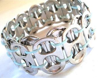 SODA TAB BRACELET - Simply Sky - Stretchy - upcycled/recycled/eco-friendly jewelry - gifts under 10 dollars