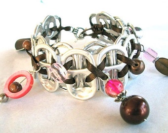 Upcycled SODA TAB BRACELET - Raspberry Truffle - pink and brown - 7 1/2 inch - Hand wired and beaded - recycled jewelry -Under 20 dollars