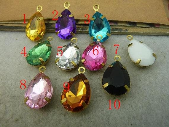 100pcs 13x18mm Mixed 10 Colors Unplated Brass Lovely 3D Tear Drop Charm  c5139