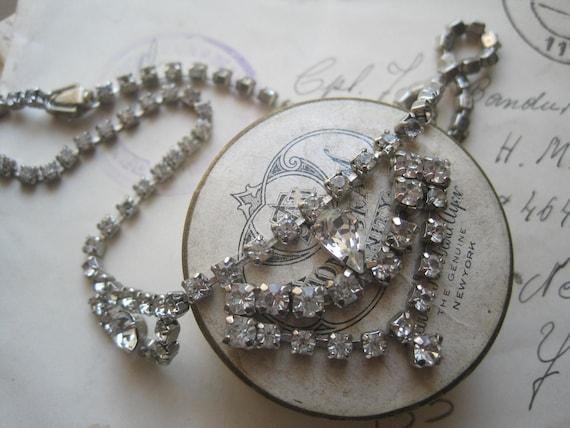 antique, french, bridal, jewel, rhinestone, silver, necklace.