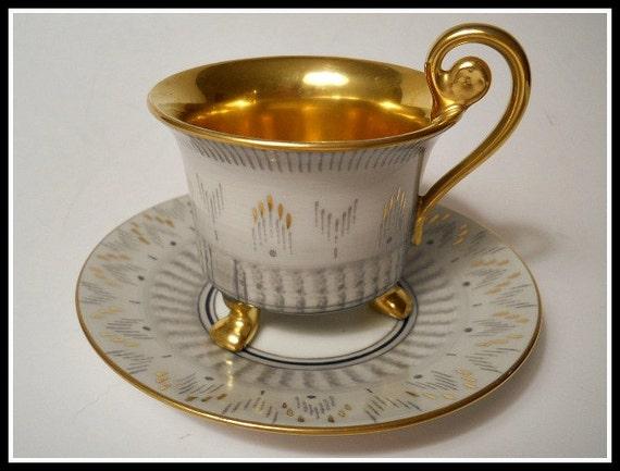 ROSENTHAL German Porcelain Hand Painted Art Deco Cup & Saucer  Gold/Grey - Vintage