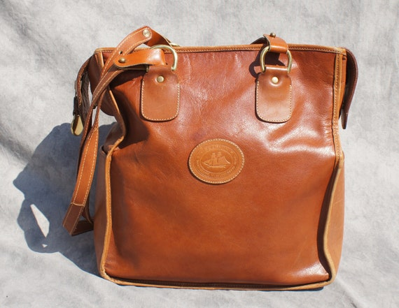 Brahmin large tote bag purse tan leather