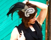 Jeweled Feather Fascinator Headpiece Black, White, Gold Dalmatian - CRUELLA