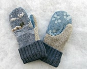 Children's Size Large Blue and Tan with Little Cabin Scene Warm Felted Wool Mittens - LittleKittens