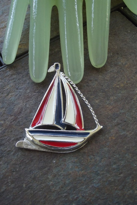 "Vintage 2 1/2"" Silvertone Red White & Blue Enamel Sailboat Pin"