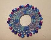 Variegated Crocheted Beaded Scrunchie