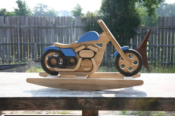 Items similar to motorcycle rocking horse on etsy for Scooter rocking horse
