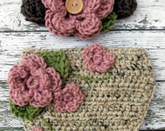 The Ava Flower Headband in Dusty Pink, Taupe, Oatmeal and Olive Green with Matching Diaper Cover Available in Newborn to 24 Months Size