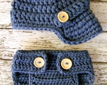 The Oliver Newsboy Cap in Dark Denim Blue with Matching Diaper Cover Available in Newborn to 24 Months Size- MADE TO ORDER