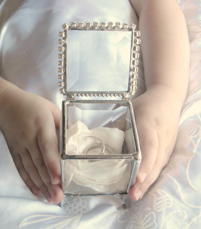 Ring bearer pillow alternative glass box by shopworksofglass for Wedding ring bearer