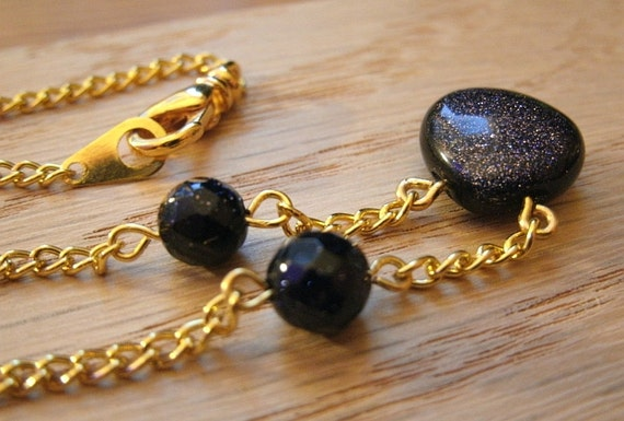 Goldstone Chain Necklace (Gold Chain)