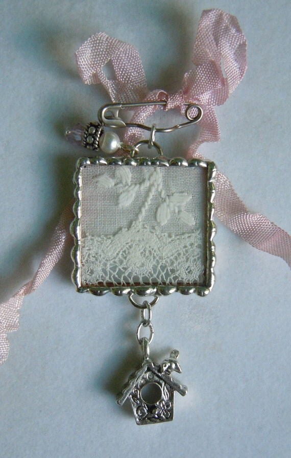 Fiona and The Fig  Victorian Lace  and Silver Colored Charm Brooch Pin