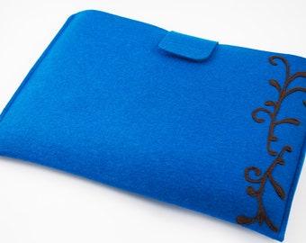 "Mac Air 11"" or 13"" Sleeve - Teal with Chocolate Swirl  - 100% Merino Wool - Landscape"