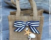 Nautical Bulap Flower Girl Petal Basket - Yacht Club Wedding - Beach Weddings - Boat, Ship - Navy And White With Seashells Bag - Summer Fall