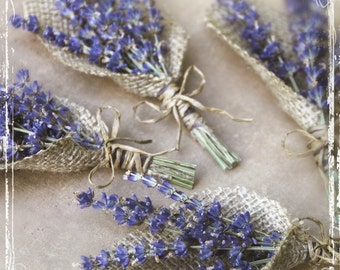Lavender And Burlap Boutonniere - Herb Weddings - European Elegant Wedding - Purple Dried Flower - Groomsmen, Groom - Herbal Lapel Pin