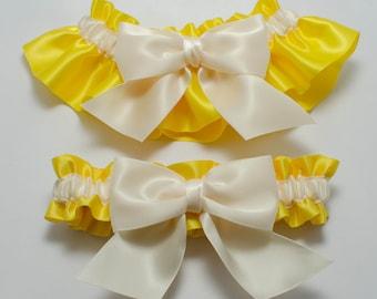 Wedding garters - bridal garters - yellow and ivory garters - yellow satin garters - yellow and ivory garter set - yellow and ivory garters