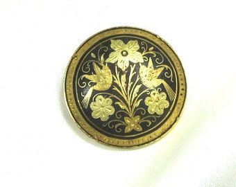 Vintage Damascene Brooch, Pin, Ornate, Gold Flowers Love Birds, Signed Spain