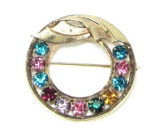 Vintage CATAMORE 12K Gold Filled Multi-Color Rhinestone Circle Pin Brooch 1960's