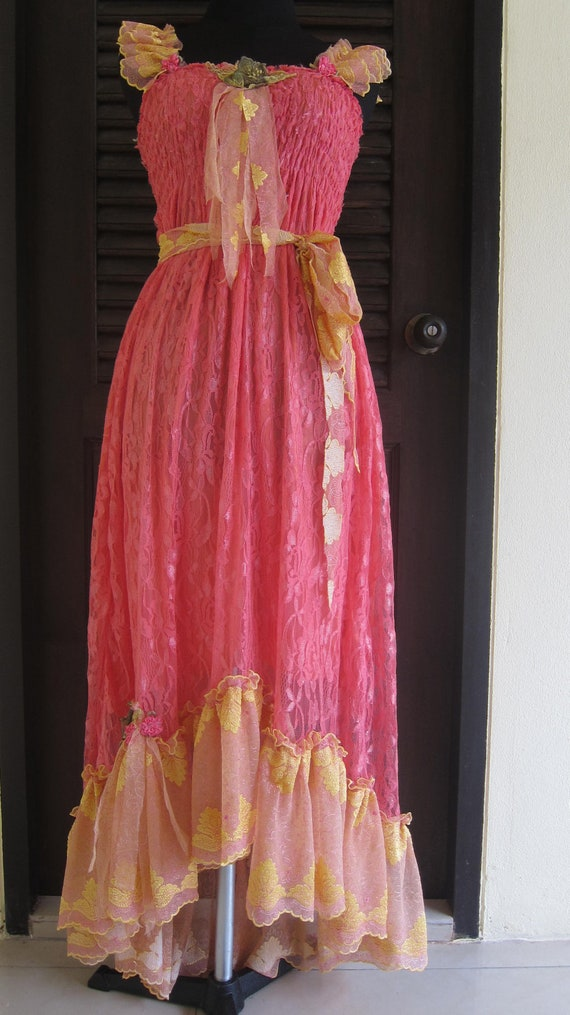 romantic vintage inspired dress with lace ruffles,roses and vintage motifs...