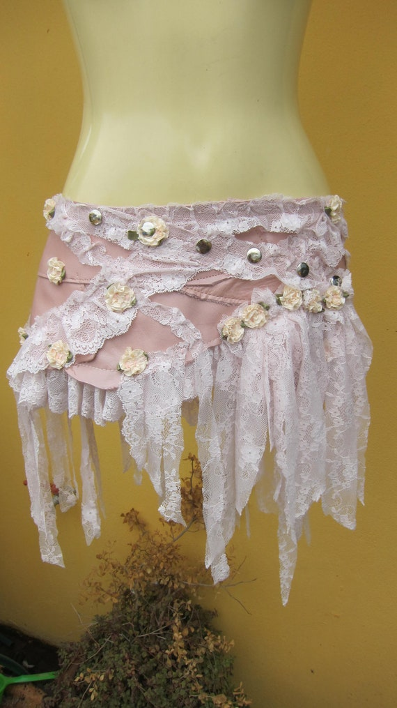 BURNING MAN..vintage inspired bohemian pale pink leather mini skirt belt/tutu with lace ruffles and roses ....