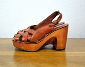 reserved vintage shoes, 1970's brown leather strappy woven bohemian platform wedge sandals, size 6, 36