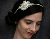 bridal lace headband -COME HITHER my LOVE- vintage ivory