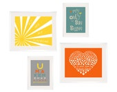 Kids Wall Art Eclectic Style You Are My Sunshine Prints in yellow, green, grey and orange. 4 pc Set 8x10 and 5x7 ESECH-019