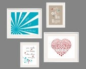 You Are My Sunshine Print Set in Sea Green, Tan, Grey and Red 8x10 and 5x7- Eclectic style Gallery wall Art - YassisPlace