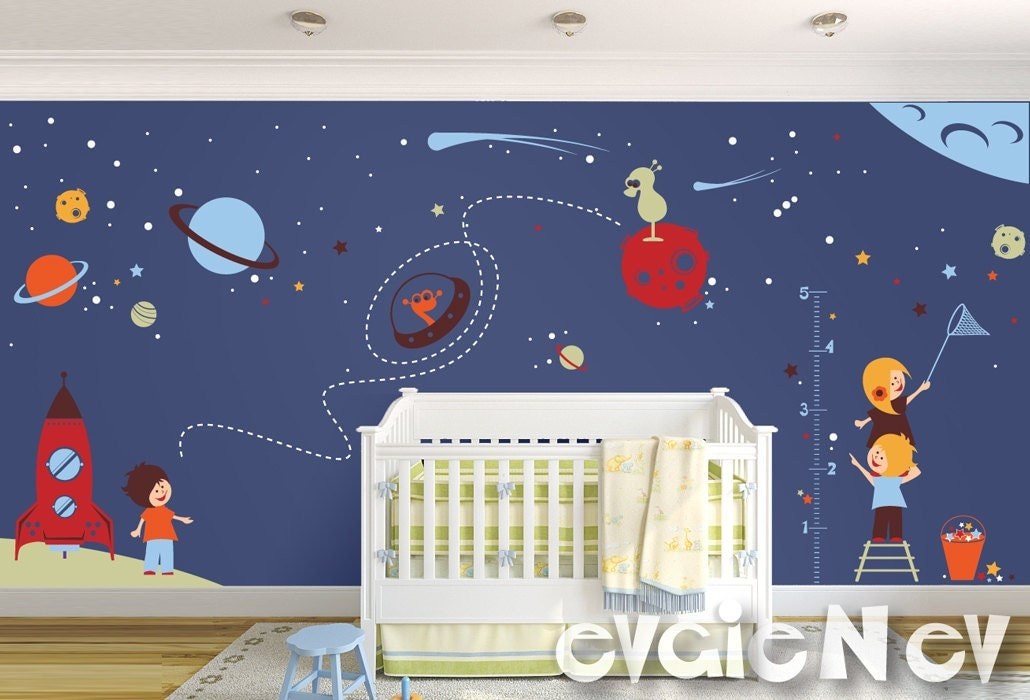 Space wall decals nursery boy space wall stickers with for Outer space room design
