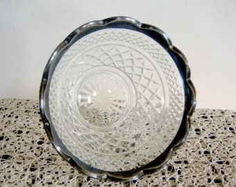Vintage Silver Rimmed Scalloped Crystal Bowl  Online Vintage, farmhouse, apartment, home accents, salad bowl, thanksgiving