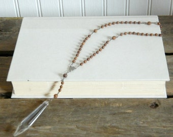 Rosary Necklace Chandelier Crystal Repurposed Romantic Reuse One of A Kind