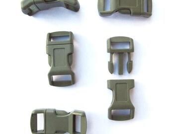 """Olive Drab Buckles 1/2"""" (13mm) Contoured Non-Adjusting, Designed for Paracord Bracelets"""