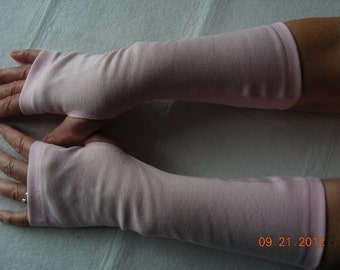 Pink Jersey Fingerless Gloves, Jersey Arm Warmers, Texting Gloves, Driving Gloves, Cycling Glove, Hand Warmers, Biking Glove, Jersey Mitts