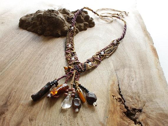 RESERVED for B.C. - Crystal Healing Pendant with Clear Quartz, Amber, Tiger Eye, Black Coral, Garnet, Fire Agate, Leopardskin Jasper
