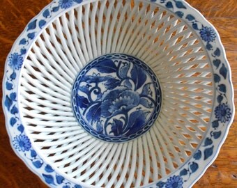 Asian Reticulated Bowl, Antique, Blue Floral Motif, Great Shape!