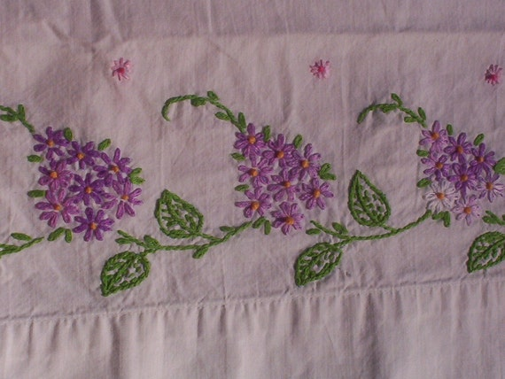 Hydrangeas Handstitched Single Pillowcase, Flowers & Greenery