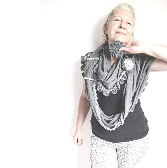 Gray Beauty  Infinity Knit Scarf Gray ..Knitted n Crochet Circle Scarf  two flowers brooch..Sale