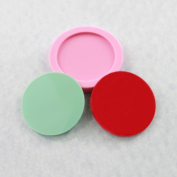 Circle Disk 2 inch Flexible Silicone Mold Mould Jewlery Mold, Resin Mold, Polymer Clay, Wax, Soap, PMC (314)