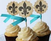 Fleur-de-lis cupcake toppers - set of 12