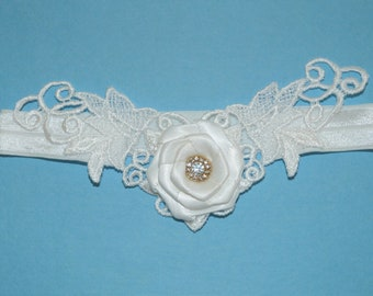 SALE - White Floral Venise Lace Applique with Satin Rose and Rhinestones Bridal Garter - Ready To Ship