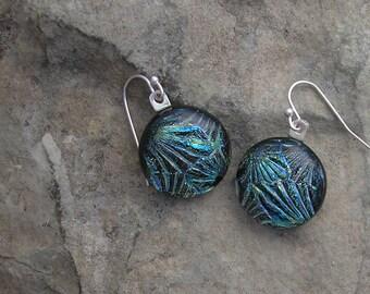 Starburst Fused Glass Dichroic Earrings